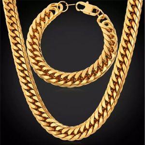 Other - 13MM New 18K gold hiphop necklace/ bracelet set